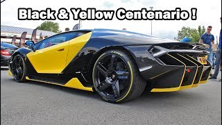 **RARE unique black&yellow Lambo Centenario (1 of 40. First in The Netherlands)**Today I had the opportunity to film the very first Lamborghini Centenario coupe in The Netherlands. In total there are only 40 units of this model produced and sold worldwide (of which 7 in Europe).This particular Centenario is even more special because it's the only one in the world with this black and yellow paintjob. Keep in mind that while filming this, the car was only two days old! The owner picked it up at the dealership the day before. That's why I honestly didn't expect him to rev the engine like that. But he did!  And it sounds great (it's louder than an Aventador SV).Anyways, in this video you will see the Centenario driving on the road towards the Supercars&Classics meet in Boxtel (The Netherlands). After that, it's time to make some noise; A startup exhaust clip and loud revs. Furthermore, I made a little montage to show you guys the finest details of the car. At the end of the video you can see the Centenario leaving the car show together with a stunning green Aventador SV.Please enjoy the video! I hope you like it. Let me know in the comment section below ;)--------------------------------------------------------------------------------------------------------------------------------------------------------------------------------------------------------------------------------Car: 2017 Lamborghini Centenario LP770-4 (coupe)Engine: 6.5 L naturally aspirated V12Power output: 759 bhpTorque: 690 nmWeight: 1610 kg (3550 lbs)Transmission: 7 speed semi-auto (flappy paddles)Top speed: 350 kmh (218 mph)0-100kmh: 2.8 secPrice: EUR 2,226,915 --------------------------------------------------------------------------------------------------------------------------------------------------------------------------------------------------------------------------------Event: Supercars & Classics 2017 (Classic Park, Boxtel)-------------------------------------------------------------------