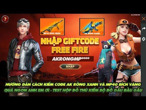 Free Fire| Hướng dẫn cách nhận code AK rồng xanh và MP40 bích vàng vĩnh viễn - Test thử hộp đồ thú
