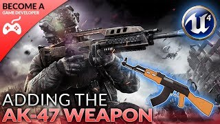 We take a look at how we can set up a gun for the character, more specifically the AK-47. We show you how to import the weapon into the game and have it spawn inside of the player's hands.We also go over how to align the gun and set up the socket for it.Unreal Engine 4 Beginner Tutorial Series:https://www.youtube.com/playlist?list=PLL0cLF8gjBpqDdMoeid6Vl5roMl6xJQGCBlueprints Creations Serieshttps://www.youtube.com/playlist?list=PLL0cLF8gjBpoojQ7YqsSsxycBe5S3ikkV► Next VideoIn the next video we'll continue to bring our shooter game to life.♥ Subscribe for new episodes weekly! http://bit.ly/1RWCVIN♥ Don't forget you can help support the channel on Patreon! https://www.patreon.com/VirtusEduVirtus Learning Hub // Media● Facebook Page - https://www.facebook.com/VirtusEducation●Twitter Page - http://www.twitter.com/virtusedu● Website - http://www.virtushub.co.uk