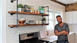 10. The Farmhouse Pipe Shelves - Easy DIY Project (includes hanging)
