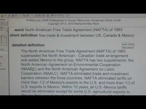 North American Free Trade Agreement (NAFTA) of 1993 PHR42.com PHR SPHR Study Guide Human Resources