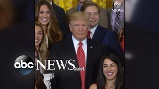 """Asked if Attorney General Jeff Sessions should resign, President Trump rolled his eyes. When the reporter asked the president if he had a message on health care, Trump said """"quiet."""""""