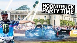 Video Ken Block's Hoonitruck Slays a Duke's Royal Driveway at Goodwood FOS 2019 + Cossie V2 Rally Action MP3, 3GP, MP4, WEBM, AVI, FLV Juli 2019