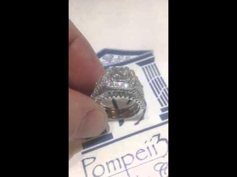 Princess Cut Halo VS Diamond Engagement Ring Guard Set 18K White Gold by Pompeii3.com