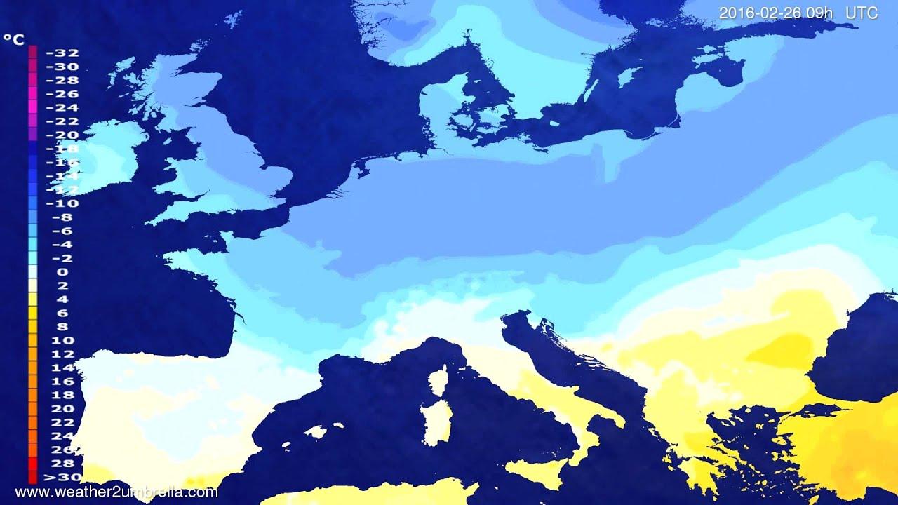 Temperature forecast Europe 2016-02-24