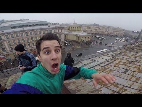 ПОБЕГ от охраны на крыше Питера. Руфер Гордей. ВМХ GоРrо - DomaVideo.Ru
