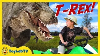 A HUGE T-Rex Dinosaur escapes from its paddock at the Dinosaur park and starts chasing Park Ranger LB on his ATV ride-on ...