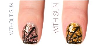 Spider Web Color-Changing Nail Art Design