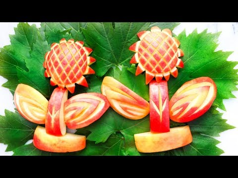Apple Garnish Art In Apple Flower Design 🌻 How To Make Apple Flower Garnish