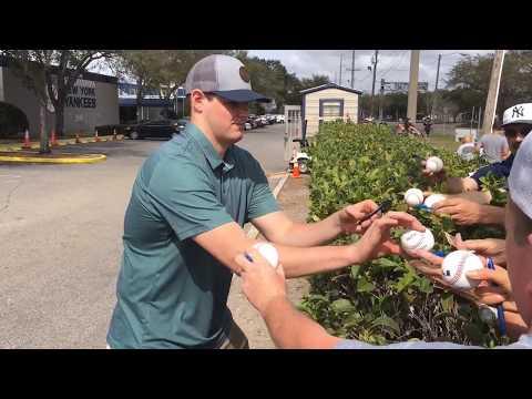 Yankees' Jordan Montgomery signs autographs