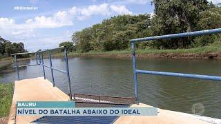Sem chuva, nível de captação do rio Batalha em Bauru está baixo
