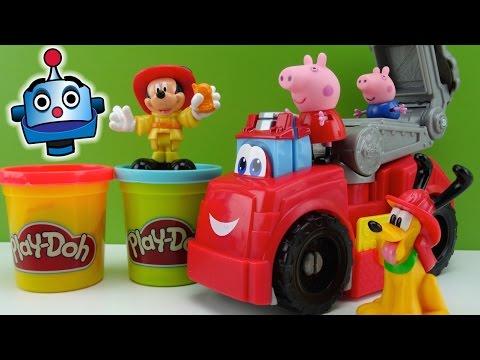 Play-Doh Camión Bomberos con Peppa Pig y Mickey Mouse Play-Doy Fire Truck - Juguetes de Play-Doh