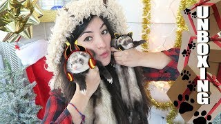 Nature Themed UNBOXING 2017 | Opening My Mail With My Ferrets | Festive Unboxing