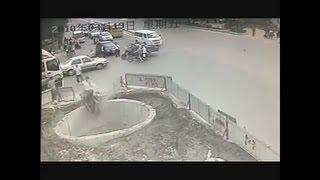 What Happened With This Man Is Unbelievable. He Crashes His Scooter 4 Times Then Falls Into A Giant Hole!