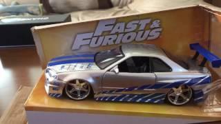 Fast & Furious Nissan Skyline GT-R34 2 Fast 2 Furious brian o'connerJada Toys Modelワイルドスピード ミニカー ダイキャスト カッコイイ(^-^)訂正もともとの値段は3800円位みたいです。1/18は売り切れてたんじゃなく、もともと存在していないようです。ロール ×ゲ  ⚪︎ケージ