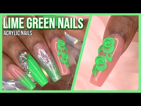 Lime Green Acrylic Nails with 3D Roses  Collab with BeGlamorous Nails  LongHairPrettyNails
