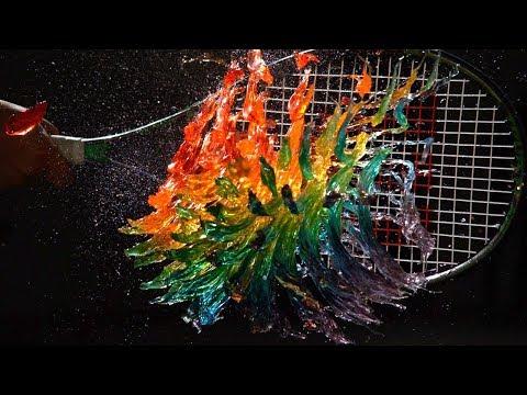 Rainbow JellO Tennis in Super Slow Motion