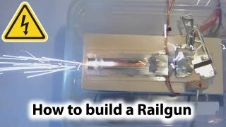 """http://www.doityourselfgadgets.com/20...This video shows how to build your own homemade railgun experimental prototype. Be very careful, this is dangerous due to high voltages and the danger of electrocution! Don't try this at home! I am not responsible for any injuries caused by your experiments!Visit my website for further information!Please subscribe to my channel for future projects!My Channel: http://www.youtube.com/user/TheLiquiderMy Website:http://www.doityourselfgadgets.com/Like me on facebook: http://www.facebook.com/DIYTechgadgetsMusic:Dan-O """"crazy from themes sage"""" www.danosongs.comwww.machinimasound.com - Dance of the pixies© by DoityourselfGadgets"""