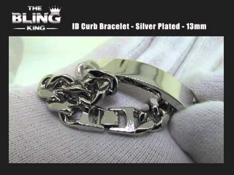 ID Curb Bracelet, Silver Plated Men's 13mm
