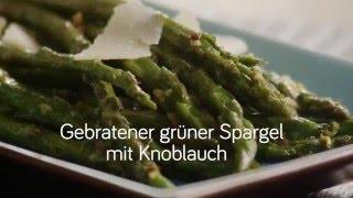 Gebratener Grüner Spargel mit Knoblauch