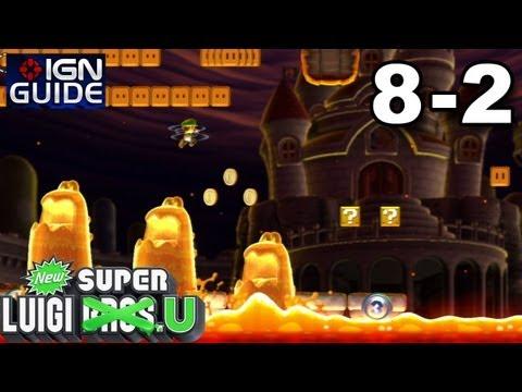 New Super Luigi U 3 Star Coin Walkthrough - Peach's Castle 2: Magmaw River Cruise (видео)
