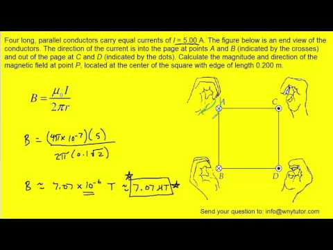 Four long, parallel conductors carry equal currents of I = 5.00 A. The figure below is an end view o