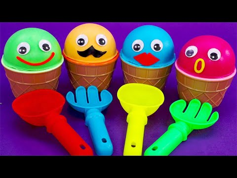 Learn 4 Colors Play Doh Ice Cream Cups with Hamburger  Minions,Kinder Joy Eggs,LOL