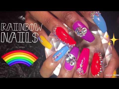 Acrylic Nails Fill  Rainbow Nails