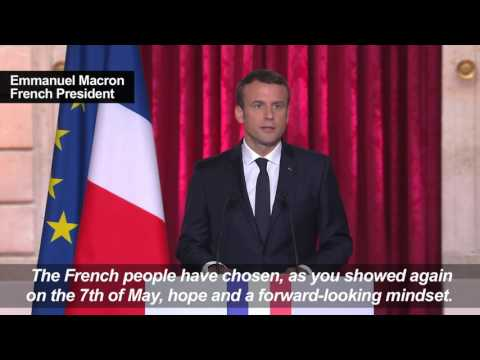 Macron takes office as French president. May 14, 2017.