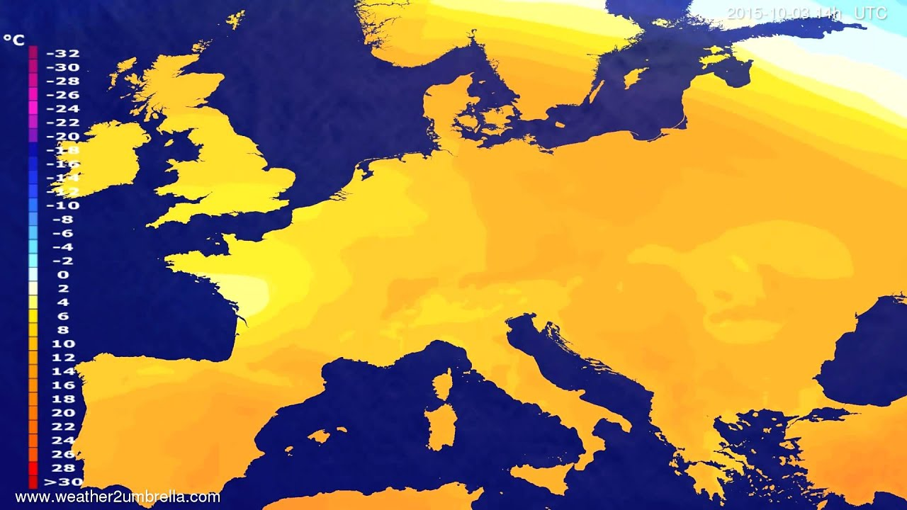 Temperature forecast Europe 2015-09-29