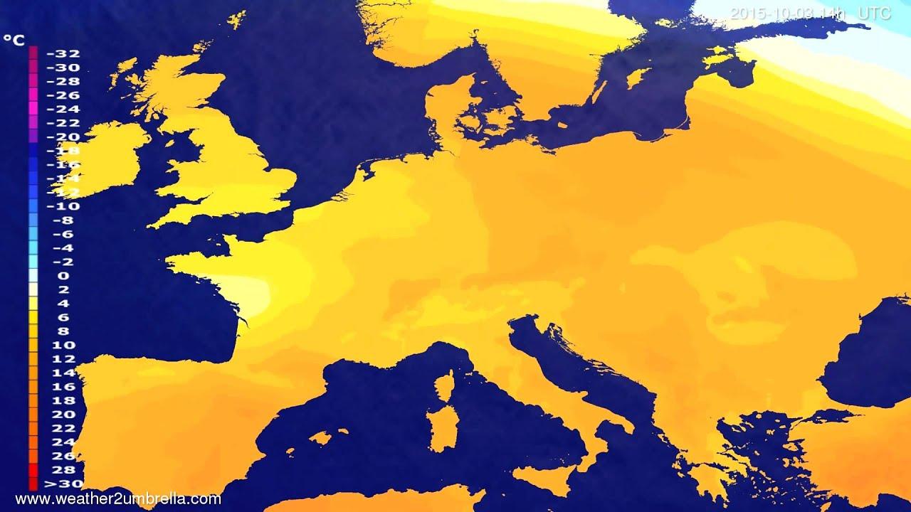 Temperature forecast Europe 2015-09-29