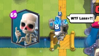"Clash Royale Funny Moments: ""Most Funniest Moments, Glitches, Fails, Trolls, Crazy Montages! Inspired by Oh Long Johnson, Clash Moments Trending, CLASH OF FUN, Clash LOL. Also 4 new cards have been released Skeleton Barrel , Flying Machine , Cannon Cart and Mega Knight and i think someone uploaded the leaked gameplay of these cards thats why supercell is not updating that leakead cards.------------------- Thank You for Watching! ------------------➜ Submit your funny moments: finitegamer05@gmail.com➜ FASTEST WAY TO EARN FREE GEMS: http://cashforap.ps/finite➜ Please Like ,Share And Subscribe!!➜ Share: https://youtu.be/YIrsQ_Gr5X8➜ Subscribefor More Clash Royal Funny Compilation: ----------------------------------------­-----------------------------------------------➜ Clash Royale Funny Moments,Clash Royale Fails,Clash Royale Funny Videos,Clash Royale Montage,Clash Royale Glitches,Clash Royale Trolls,Clash Royale Clutches,Clash Royale Winner.----------------------------------------­-----------------------------------------------➜The Most Satisfying Video Ever Made In Clash Royale History:https://youtu.be/UEZoLnG--dI ➜Funny Playlist:https://www.youtube.com/playlist?list=PLPOYibGB5JOUgWrOWqFMXg336vpChjr3o----------------------------------------­-----------------------------------------------➜Clash Royale Wikia : http://clashroyale.wikia.com/wiki/Cla...➜Website: https://clashroyale.com/----------------------------------------­-----------------------------------------------➜Download Clash Royale :➜Android - https://play.google.com/store/apps/de...➜IOS - https://itunes.apple.com/in/app/clash...----------------------------------------­-----------------------------------------------Enter the Arena! From the creators of Clash of Clans comes a real-time multiplayer game starring the Royales, your favorite Clash characters and much, much more.Collect and upgrade dozens of cards featuring the Clash of Clans troops, spells and defenses you know and love, as well as the Royales: Princes, Knights, Baby Dragons and more. Knock the enemy King and Princesses from their towers to defeat your opponents and win Trophies, Crowns and glory in the Arena. Form a Clan to share cards and build your very own battle community.Lead the Clash Royale Family to victory!PLEASE NOTE! Clash Royale is free to download and play, however, some game items can also be purchased for real money. If you do not want to use this feature, please set up password protection for purchases in the settings of your Google Play Store app. Also, under our Terms of Service and Privacy Policy, you must be at least 13 years of age to play or download Clash Royale.A network connection is also required.FEATURES● Duel players from around the world in real-time and take their Trophies● Earn chests to unlock rewards, collect powerful new cards and upgrade existing ones● Destroy opponent's towers and win Crowns to earn epic Crown chests● Build and upgrade your card collection with the Clash Royale Family along with dozens of your favorite Clash troops, spells and defenses● Construct your ultimate Battle Deck to defeat your opponents● Progress through multiple Arenas all the way to the top● Form a Clan to share cards and build your very own battle community● Challenge your Clanmates and friends to a private duel● Learn different battle tactics by watching the best duels on TV Royale----------------------------------------­-----------------------------------------------Finite Gamer"