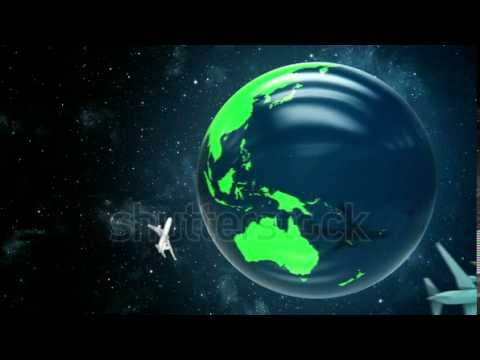 stock footage animation of travel around the world in a plane