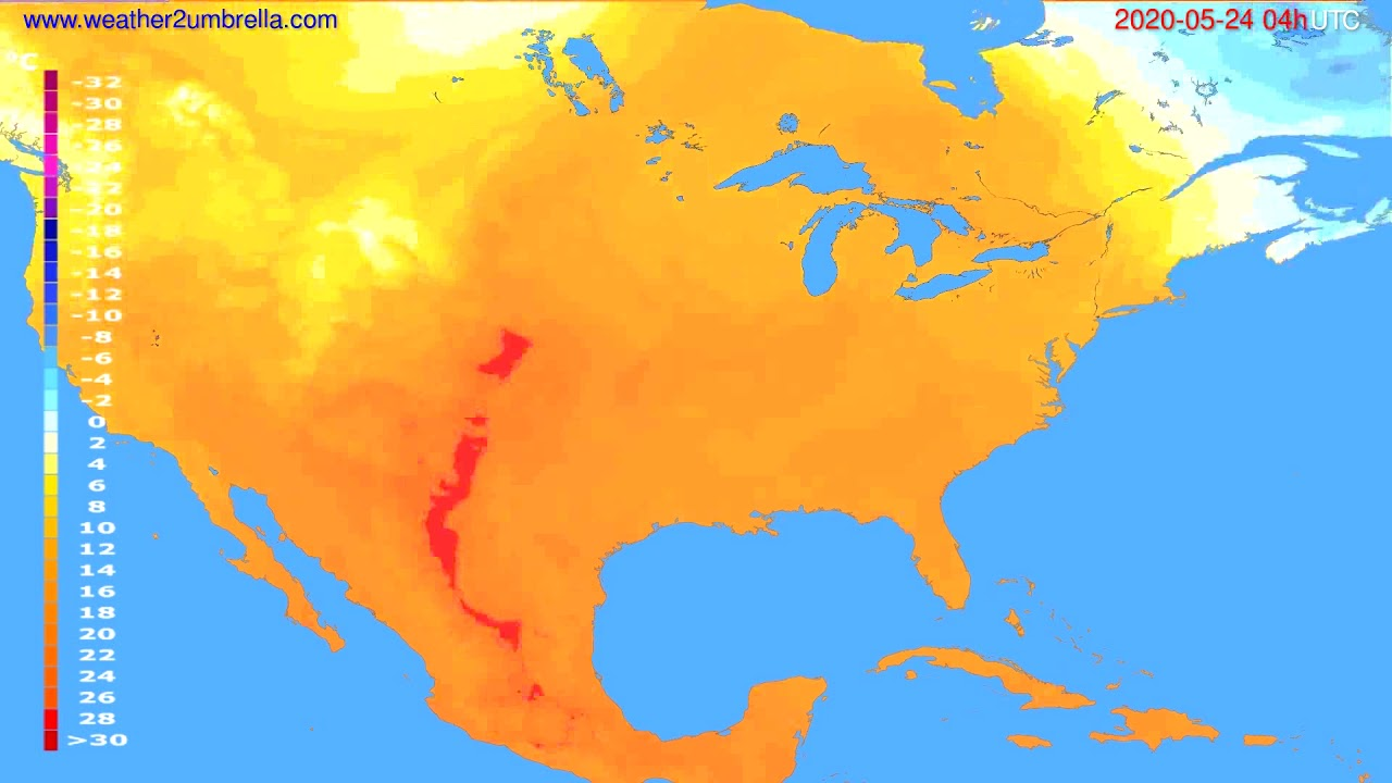 Temperature forecast USA & Canada // modelrun: 12h UTC 2020-05-23