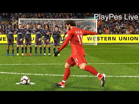PES 2019 - LIVERPOOL Vs ARSENAL - Full Match & M. SALAH Free Kick Goal & All Goals - PC Gameplay