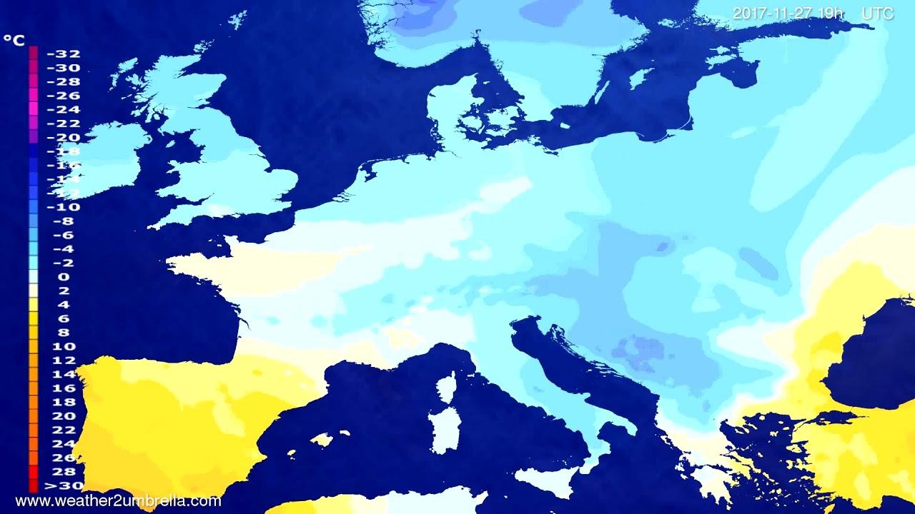 Temperature forecast Europe 2017-11-25