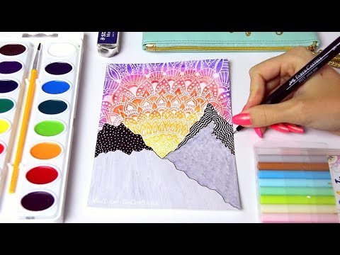 WATERCOLOR SUNSET PAINTING with Mandala Doodles & Mountains + Chat // SoCraftastic (видео)