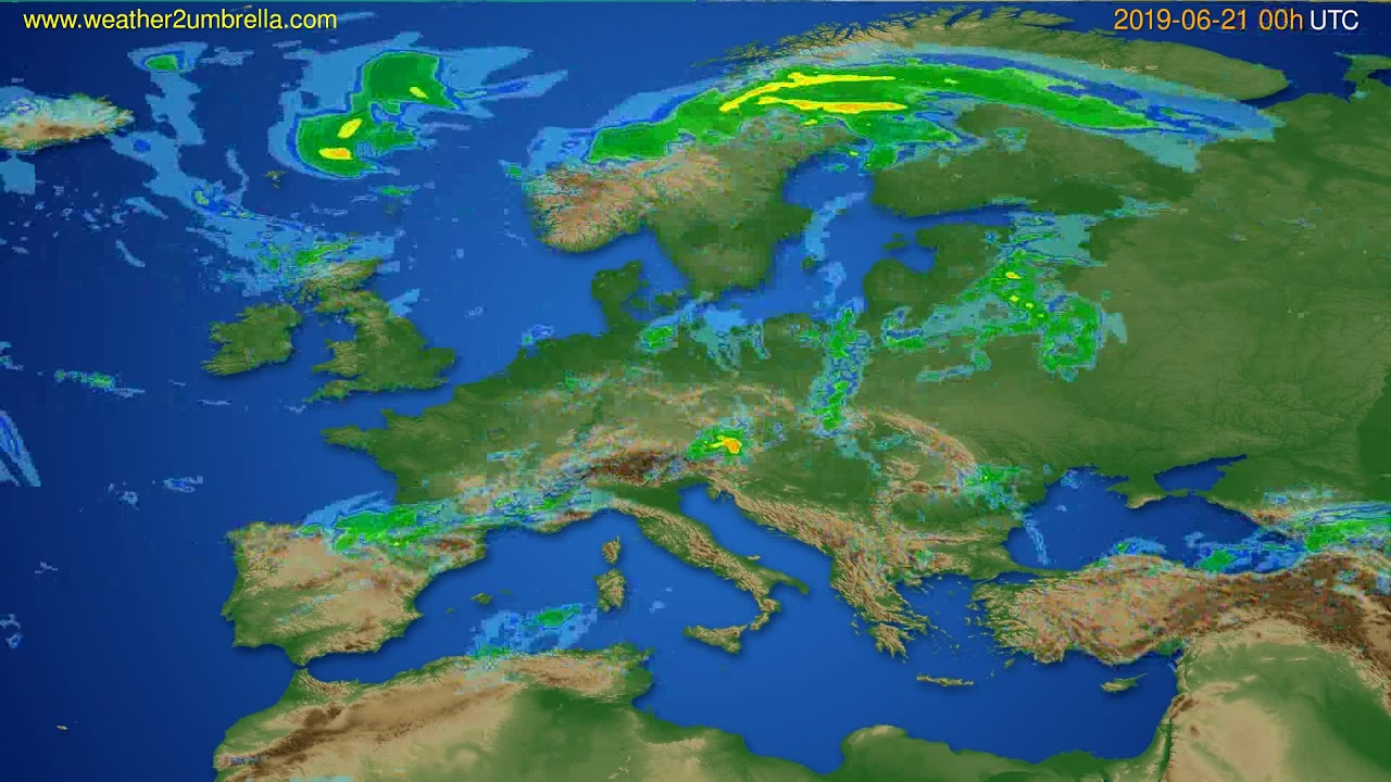 Radar forecast Europe // modelrun: 12h UTC 2019-06-20