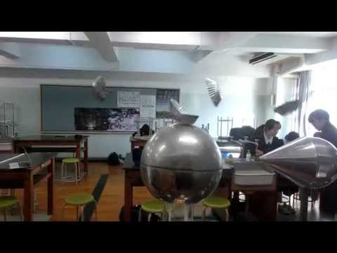 20150105清教学園中学校理科部~ヴァンデグラフ起電機~