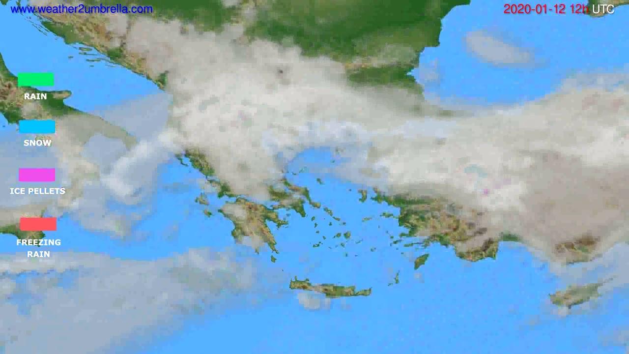 Precipitation forecast Greece // modelrun: 12h UTC 2020-01-11