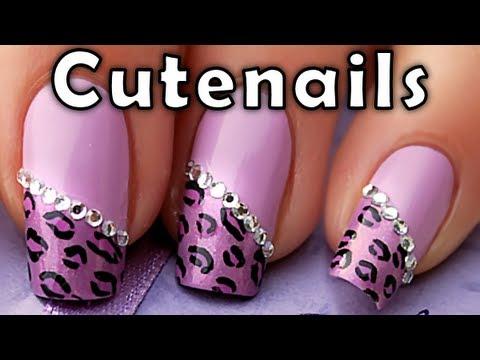 nail art - effetto leopardato con strass