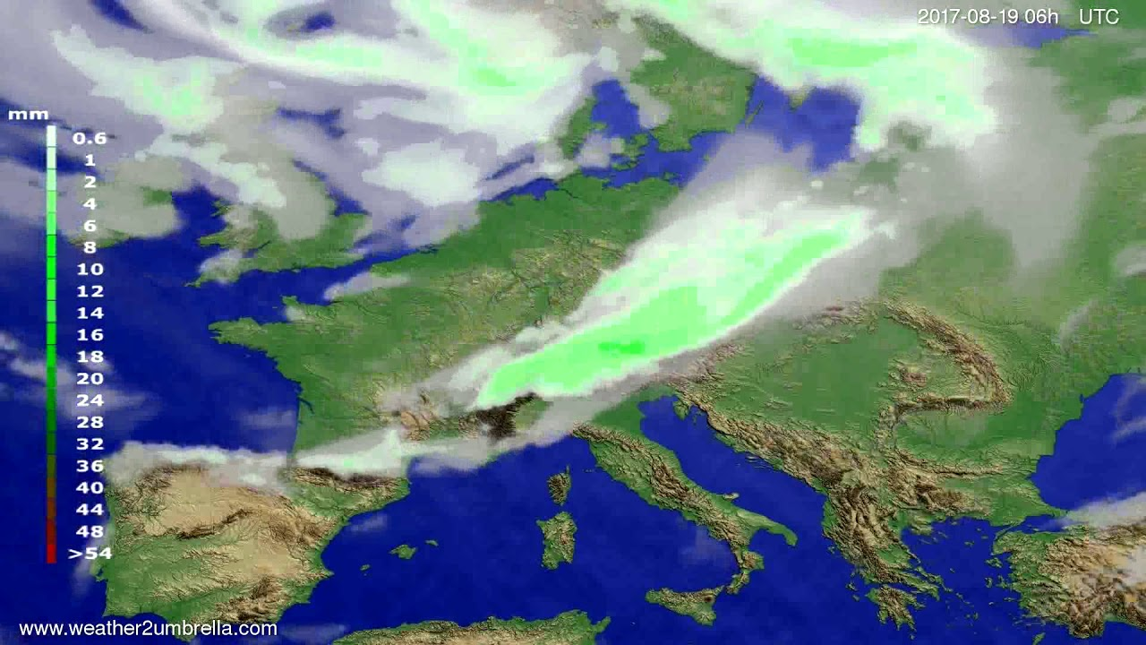 Precipitation forecast Europe 2017-08-16
