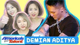 Download Video KOREANS REACTION TO DEMIAN ADITYA: Escape Artist Attempts Deadly Performance - America's Got Talent MP3 3GP MP4