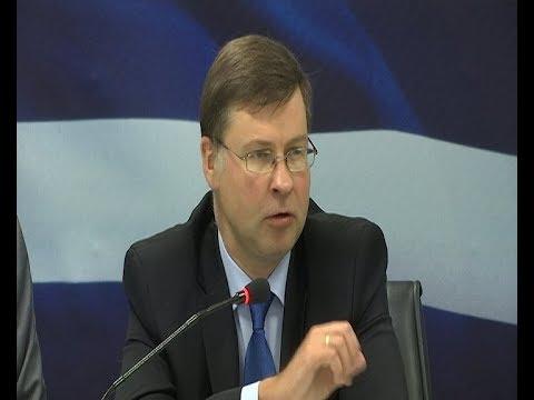 Συνέντευξη Τύπου Β. Ντομπρόβσκις και του υπουργού  Οικονομικών Ευκλείδη Τσακαλώτου