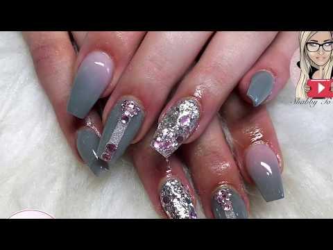 Grey and pink acrylic nails ~ coffin nails ~ glitter nails ~ glam and glits ~ glitterbels