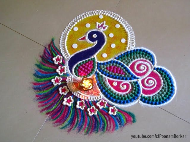 Easy Small And Unique Peacock Rangoli Innovative Rangoli