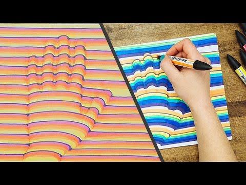 這女生一開始在白紙上畫出自己的手掌,接著拿出麥克筆…2個步驟而已就讓大家都看呆了!