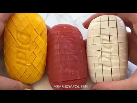 Cutting multiple soaps into small cubes- VISUALLY INTENSE ASMR