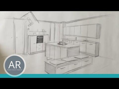 Zeichnen lernen, Akadmie Ruhr, Tutorials, Raum in Perspektive – Küche Teil 1
