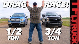 What's The Quickest Ford Truck? F-150 5.0L vs 2.7L vs F-250 Diesel Drag Race Extravaganza! by The Fast Lane Truck